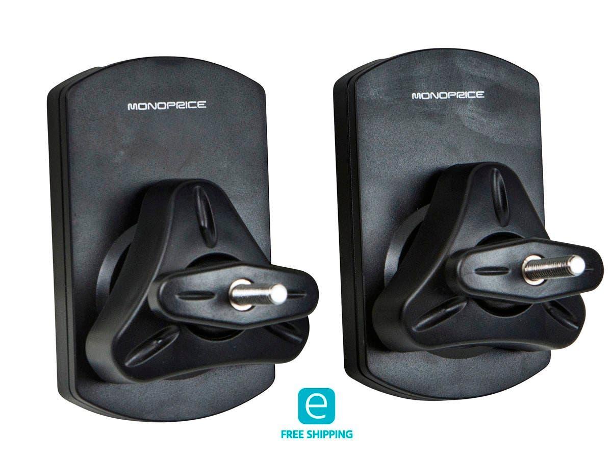 Monoprice Essentials Low Profile 22 lb. Capacity Speaker Wall Mount Brackets (Pair), Black-Large-Image-1