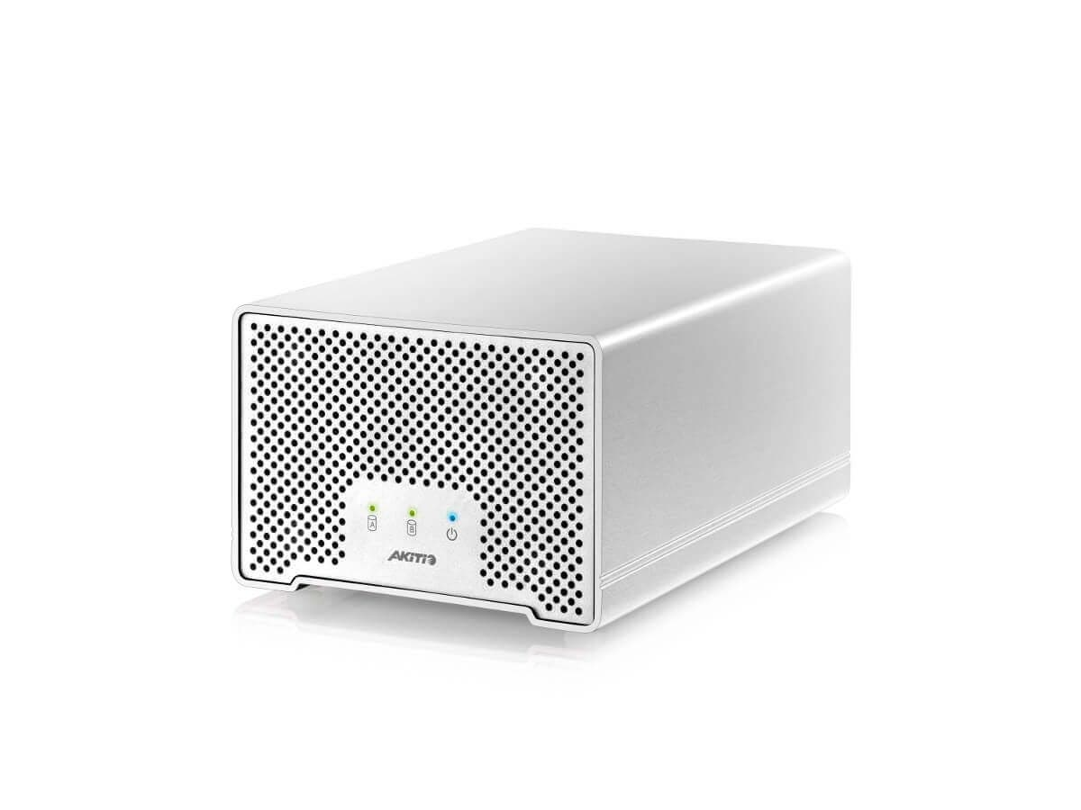 """AKiTiO Neutrino Thunder D3, 2 Bay 2.5"""" Storage Enclosure with 1x Thunderbolt and 1x USB 3.0 Ports, Thunderbolt and USB Cables Included (Enclosure Only)-Large-Image-1"""