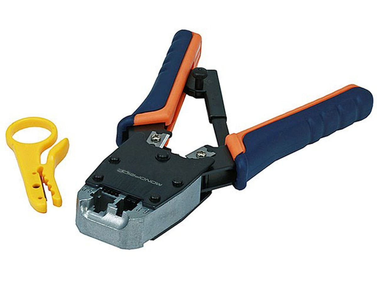 Dual-Modular Plug Crimps, Strips, and Cuts Tool with Ratchet