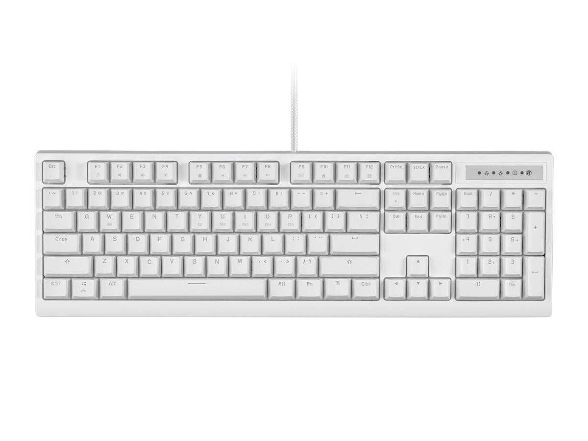Workstream by Monoprice Brown Switch Full Size Mechanical Keyboard, White-Large-Image-1
