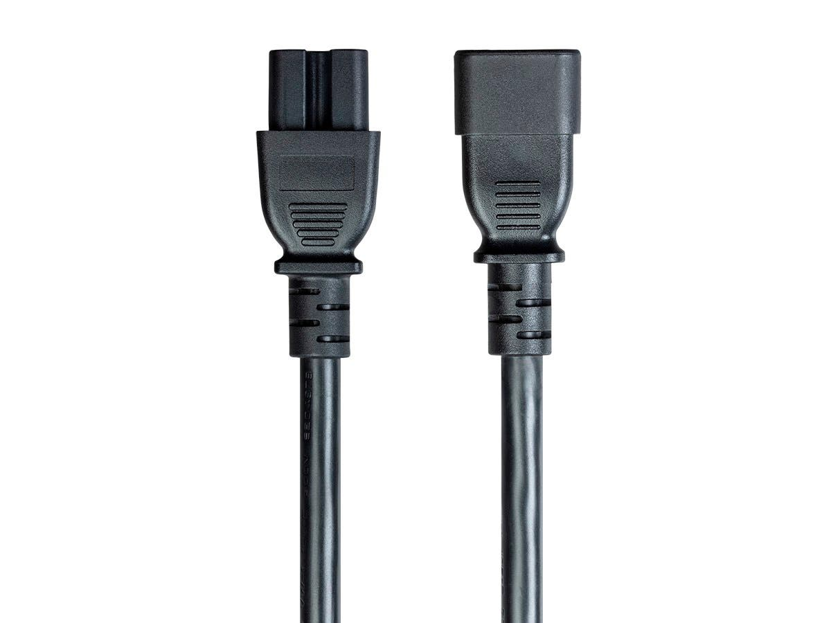 Monoprice 3ft 14AWG Black Heavy-Duty Computer Power Cord, 15A, 14AWG (IEC-320-C14 to IEC-320-C15)-Large-Image-1