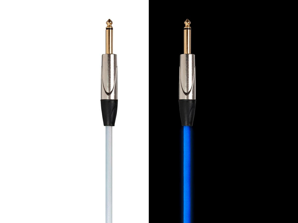 Stage Right by Monoprice GLOW 1/4-inch TS Male 21AWG Guitar/Instrument Cable UV Activated Blue 1.5ft-Large-Image-1
