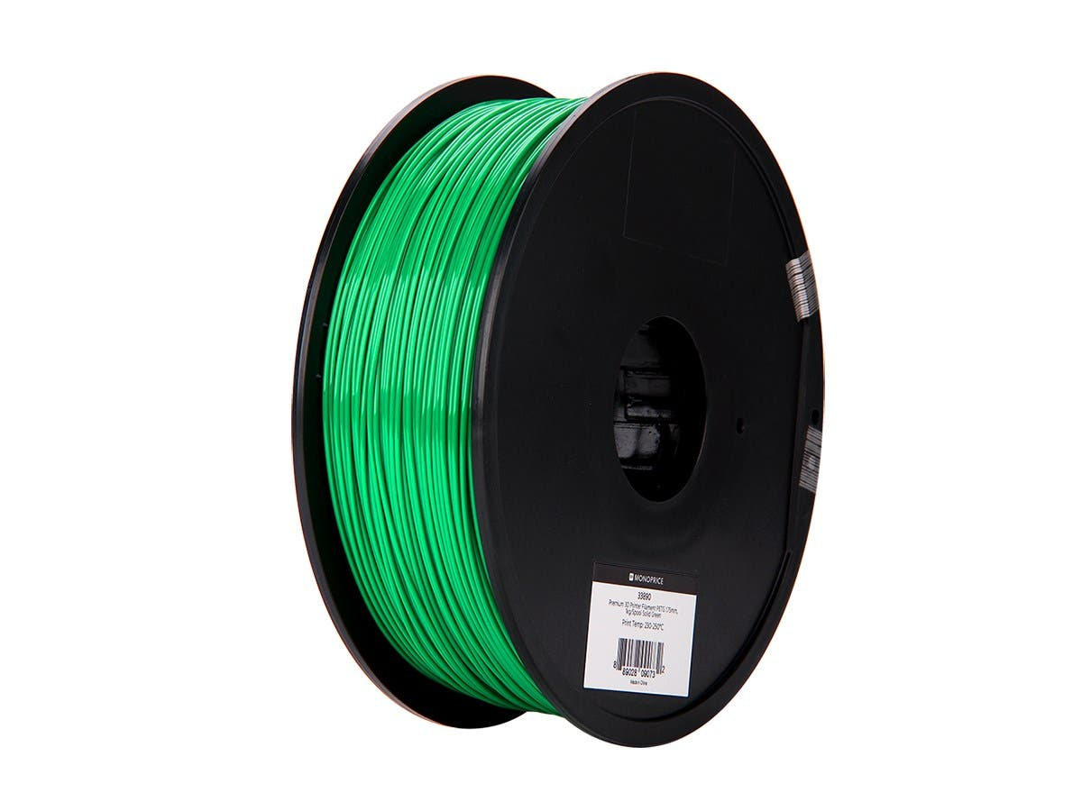 Monoprice Premium 3D Printer Filament PETG 1.75mm, 1kg/Spool Solid Green-Large-Image-1