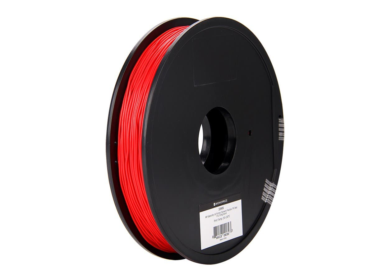 Monoprice MP Specialty 3D Printer Filament Flexible TPE Red 1.75, 0.5kg/spool-Large-Image-1