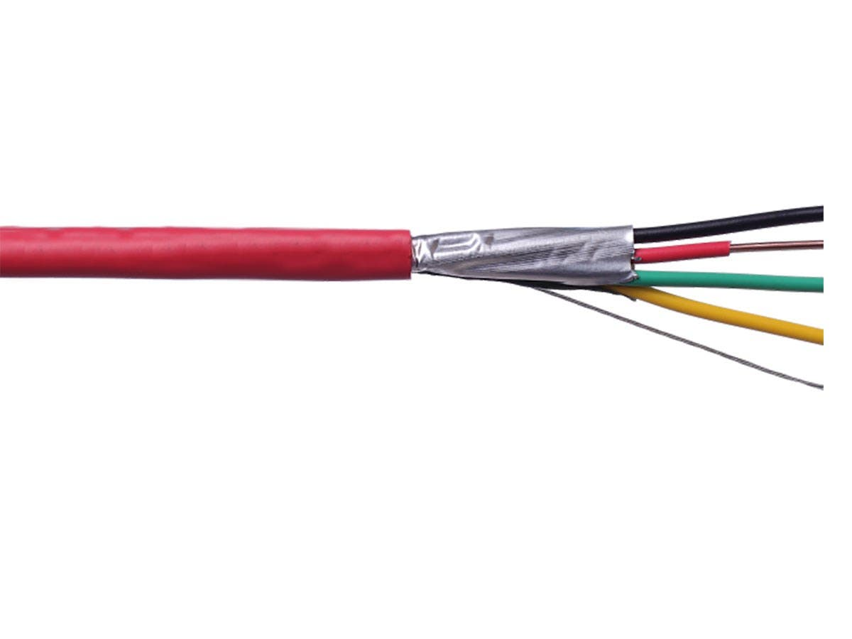 Syston 16/4 Solid Overall Shielded  Fire Alarm Cable (UL)/FPLP/CL3P/FT6 Red 1000ft Spool-Large-Image-1