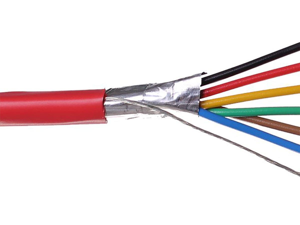 Syston 18/6 Solid Overall Shielded  Fire Alarm Cable (UL)/FPLR/CL3R/FT4 Red 1000ft Spool-Large-Image-1