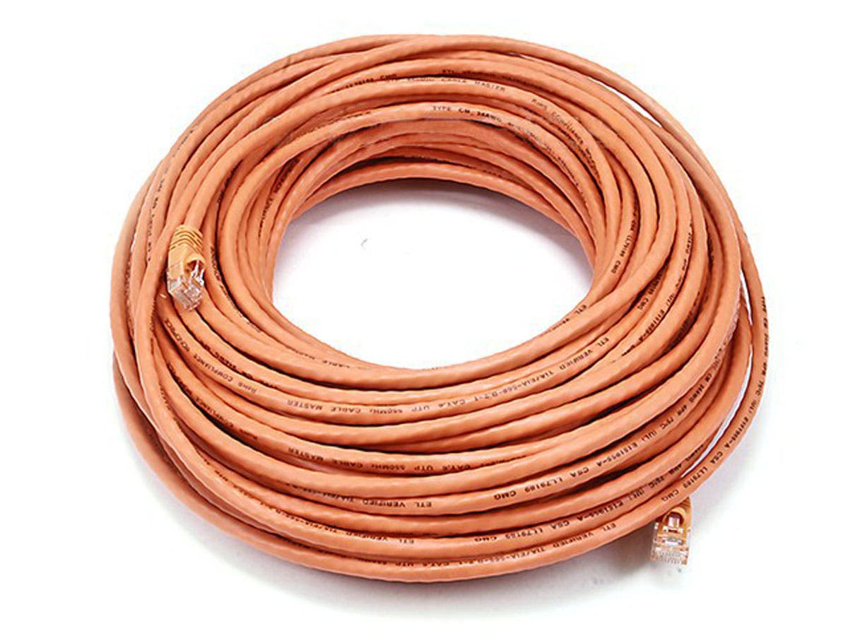 Monoprice Cat6 Ethernet Patch Cable - Snagless RJ45, Stranded, 550Mhz, UTP, Pure Bare Copper Wire, 24AWG, 100ft, Orange-Large-Image-1