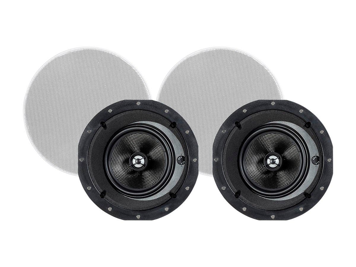 Monoprice Alpha In-Ceiling Speakers 6.5in Carbon Fiber 2-Way with 15° Angled Drivers (pair)-Large-Image-1