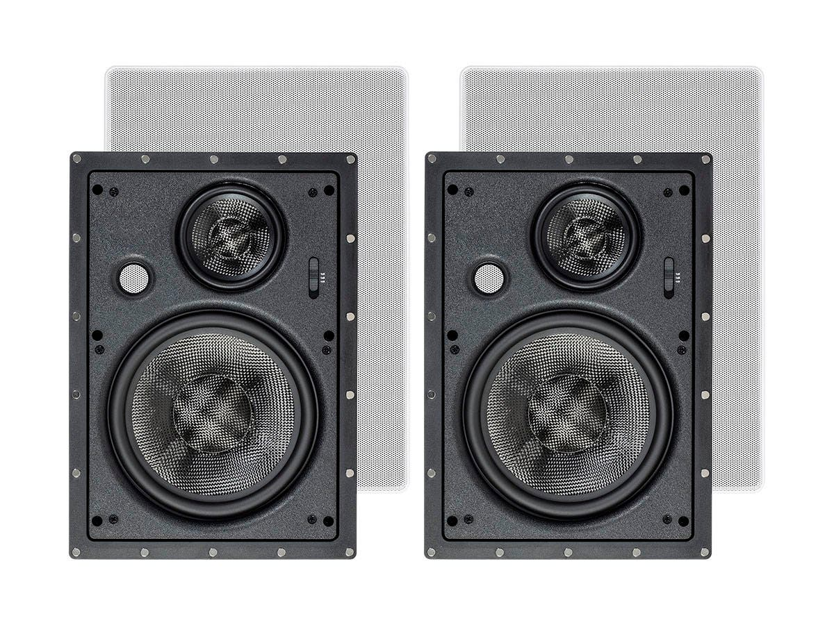 Monoprice Alpha In-Wall Speakers 8in Carbon Fiber 3-Way (pair)-Large-Image-1