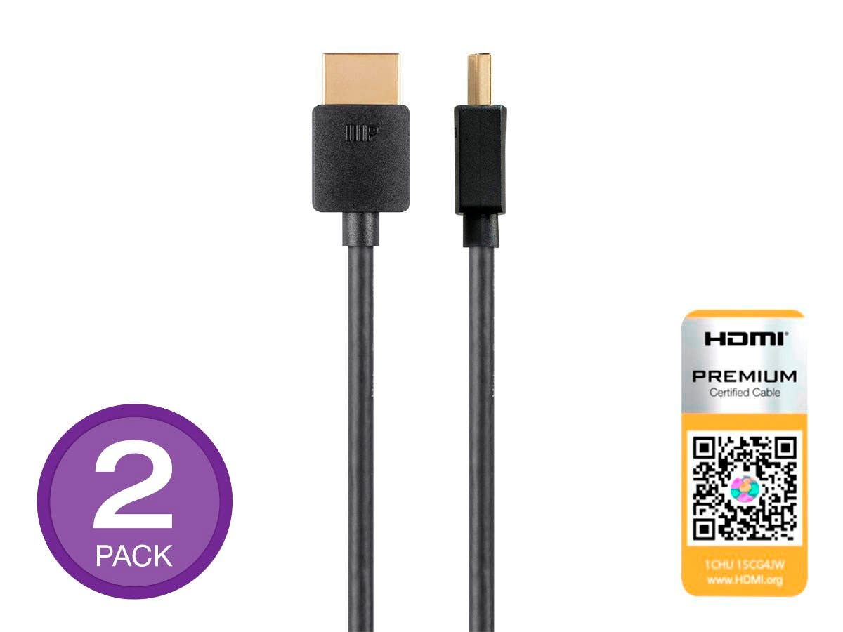 Ultra Slim Certified Premium High Speed HDMI Cable, 4K@60Hz, HDR, 18Gbps, 36AWG, YUV 4:4:4, 3ft, Black, 2-Pack-Large-Image-1