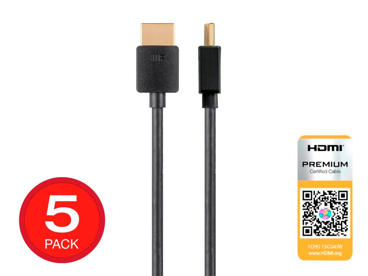 Monoprice 4K Slim Certified Premium High Speed HDMI Cable 6ft - 18Gbps Black - 5 Pack - main image