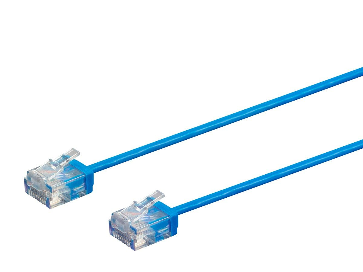 Micro SlimRun Cat6 Ethernet Patch Cable - Stranded, 550MHz, UTP, Pure Bare Copper Wire, 32AWG, 3ft, Blue-Large-Image-1