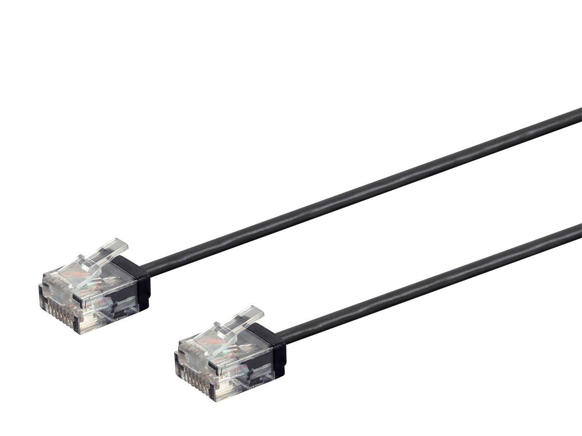 Monoprice Micro SlimRun Cat6 Ethernet Patch Cable - Stranded, 550MHz, UTP, Pure Bare Copper Wire, 32AWG, 7ft, Black - main image