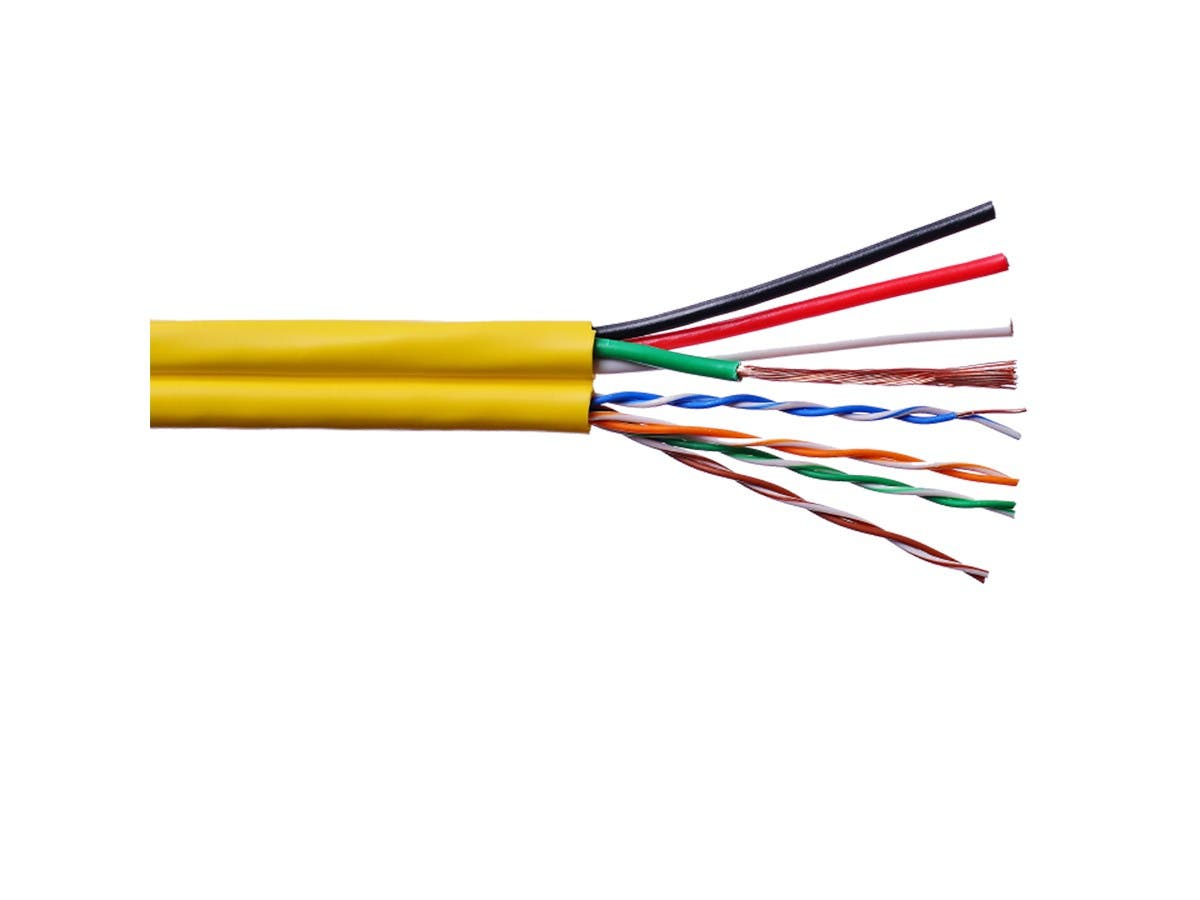 Syston Multi-Media Composite Cable,(1) Cat5E + (1) 16/4 Audio Siamese CMR Yellow 500ft Spool-Large-Image-1