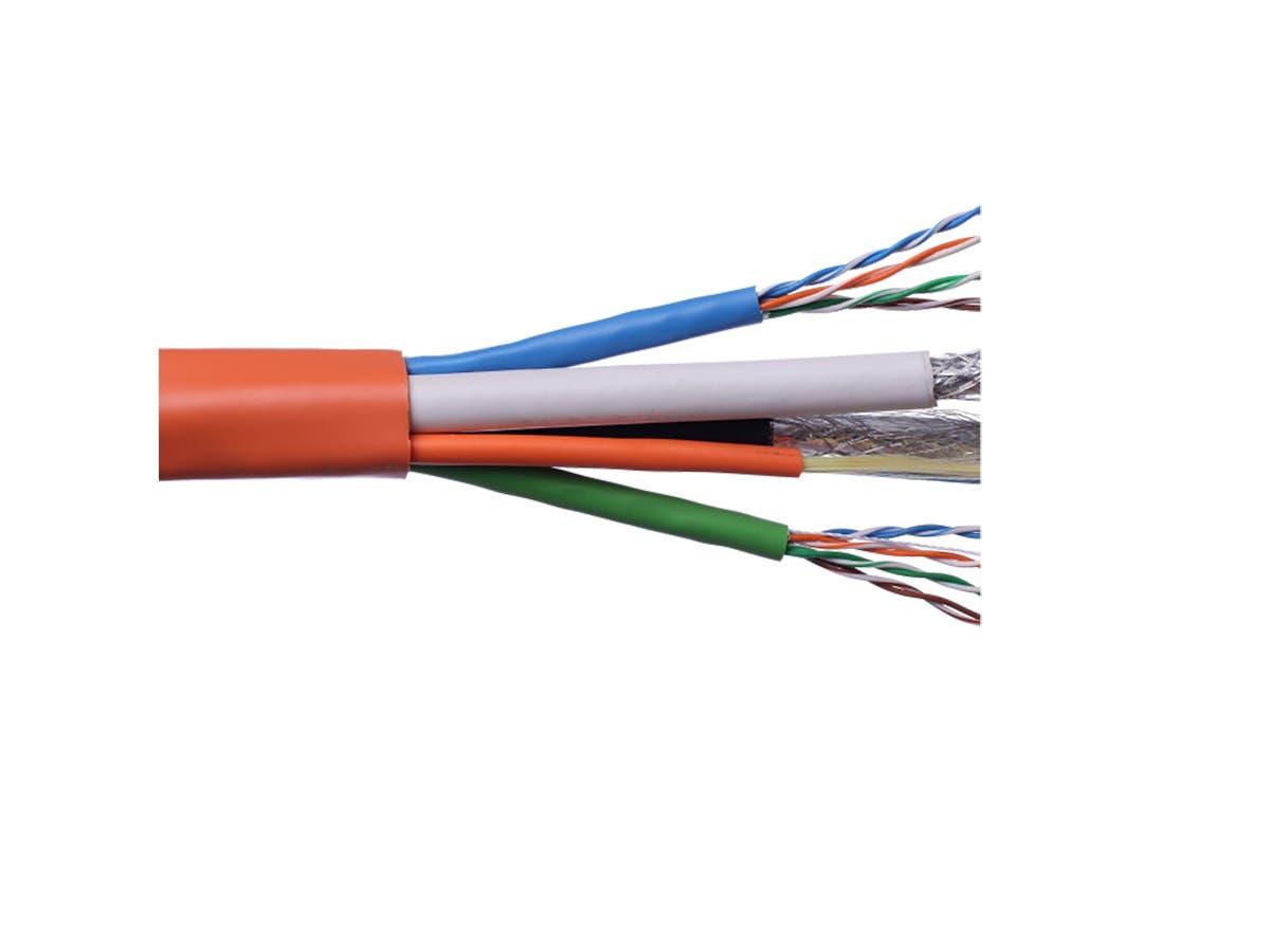 Syston Multi-Media Composite Cable,(2) Cat5E + (2) RG6 Quad + (2) FDDI CMR Orange 500ft Spool-Large-Image-1