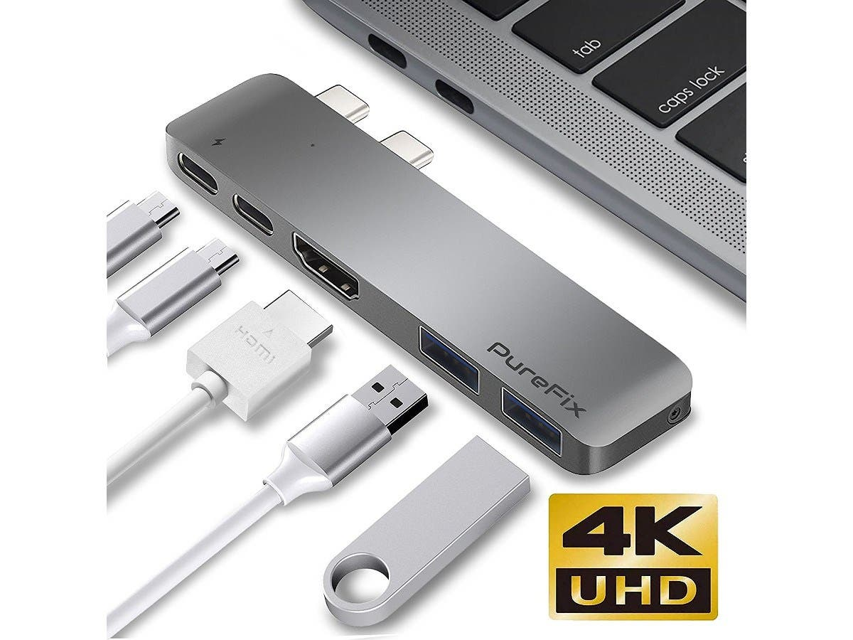 For MacBook 5 in 1 Multi-Port Hub Adapter With USB 3.0 /& Type-C /& 4K HDMI Ports