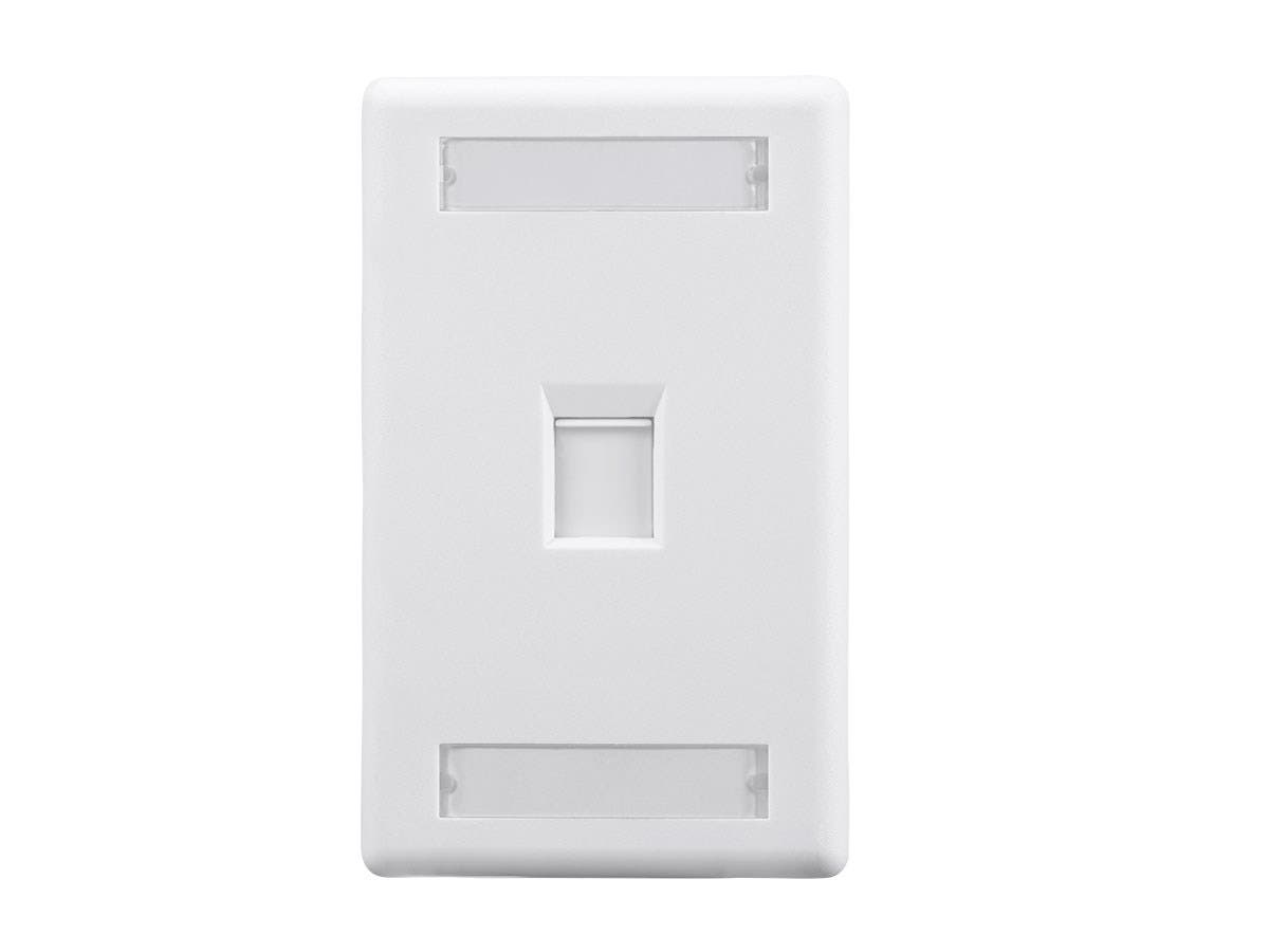 Wall Plate for Keystone with Label Window, 1 Hole, White - main image
