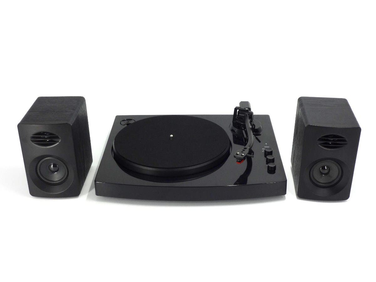 2-Speed Bluetooth Turntable System with Stereo Speakers - Black-Large-Image-1