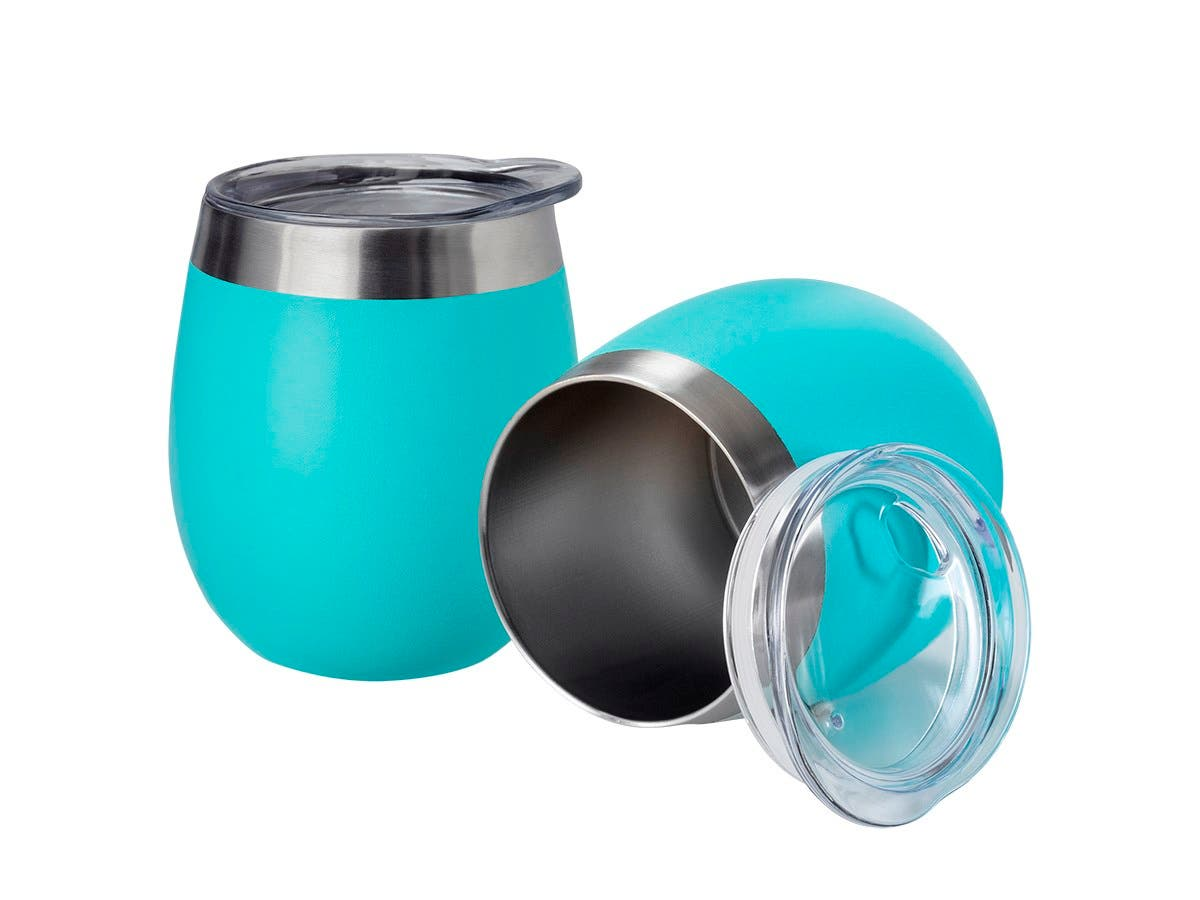 Pure Outdoor by Monoprice Wine Tumbler, Teal 9 fl. oz. Twin Pack-Large-Image-1