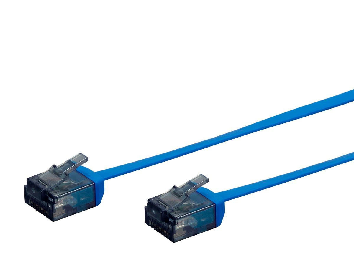 Micro SlimRun Cat6 Flat Ethernet Patch Cable, Stranded, 550MHz, UTP, Pure Bare Copper Wire, 34AWG, 7ft, Blue-Large-Image-1