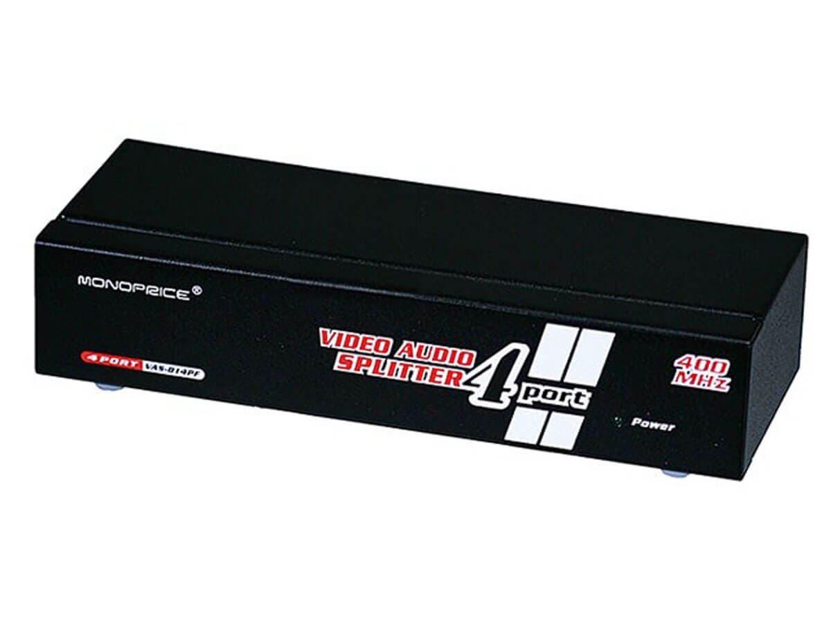Monoprice 4-Way SVGA VGA Splitter Amplifier Multiplier 400 MHz with Audio (Open Box)-Large-Image-1