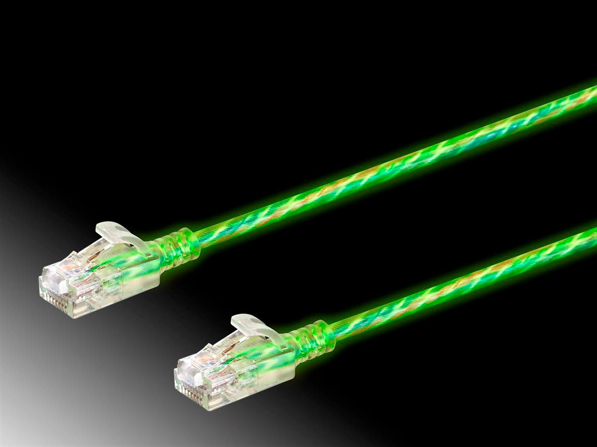 SlimRun Cat6 Glow in the Dark Ethernet Patch Cable, Snagless RJ45, Stranded, 550MHz, UTP, Pure Bare Copper Wire, 28AWG, 7ft, Glow-Large-Image-1