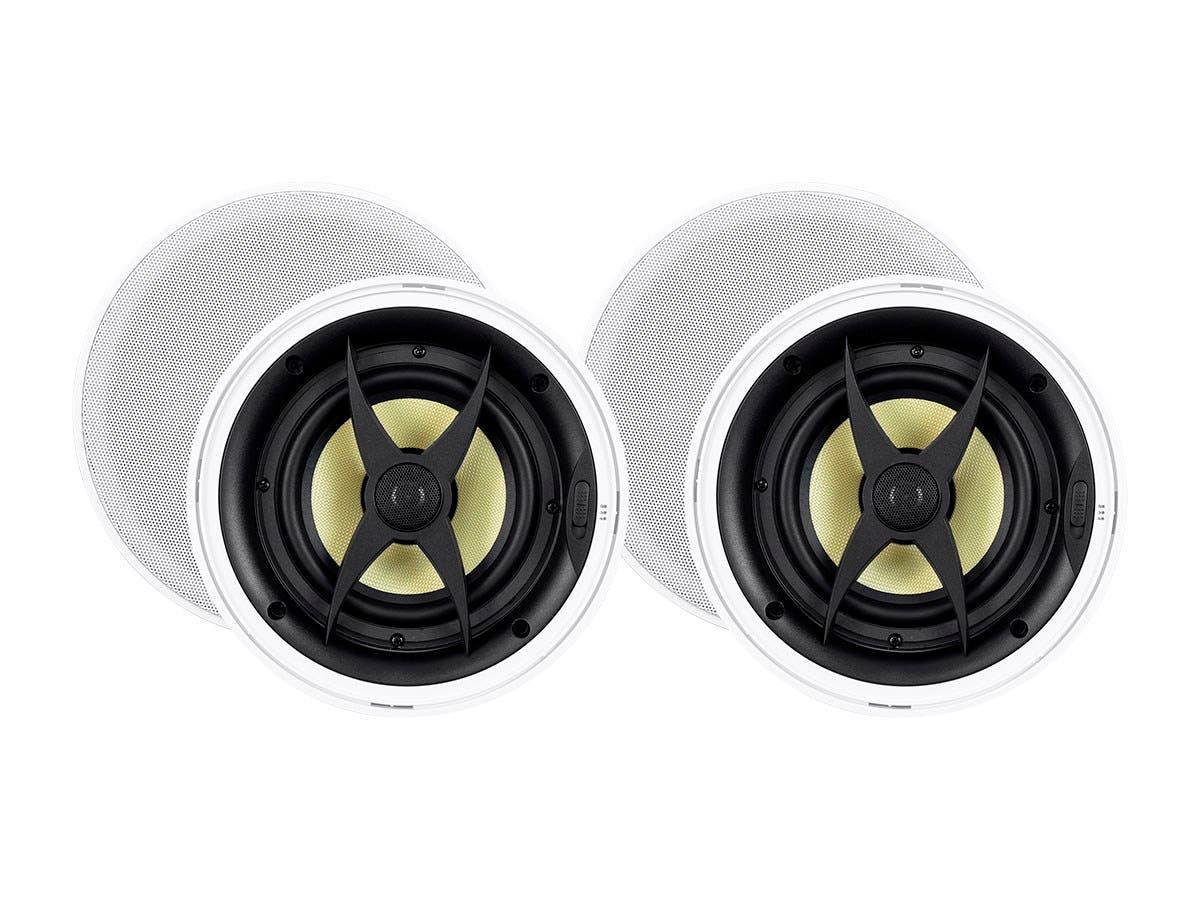 Monoprice Caliber Slim Bezel In-Ceiling Speakers, 6.5in Fiber 2-Way (pair)-Large-Image-1