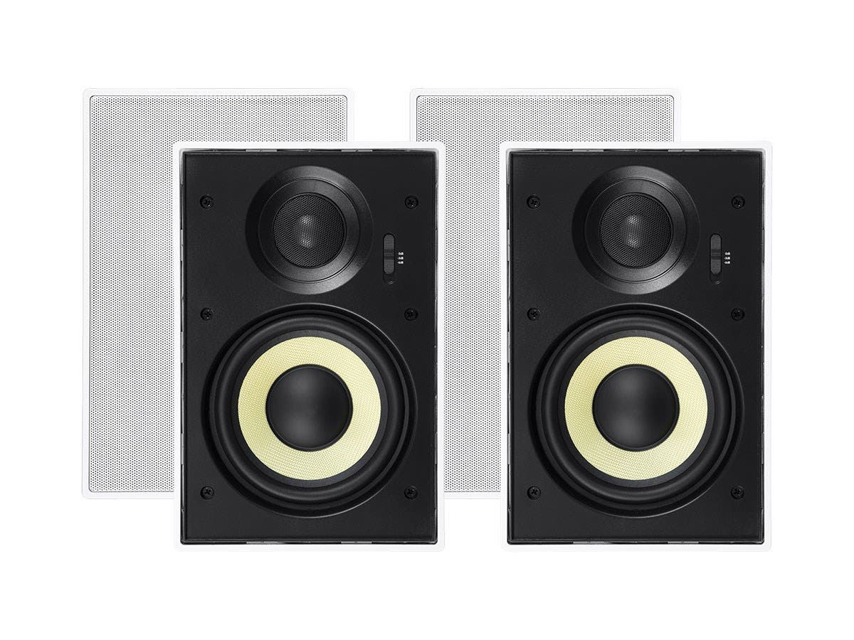 Monoprice Caliber Slim Bezel In-Wall Speakers, 6.5in Fiber 2-Way (pair) - main image