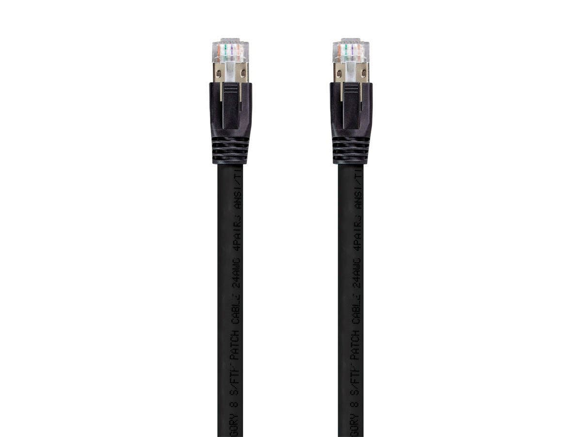 Cat8 24AWG S/FTP Ethernet Network Cable, 2GHz, 40G, 10m, Black, 5 pack - main image