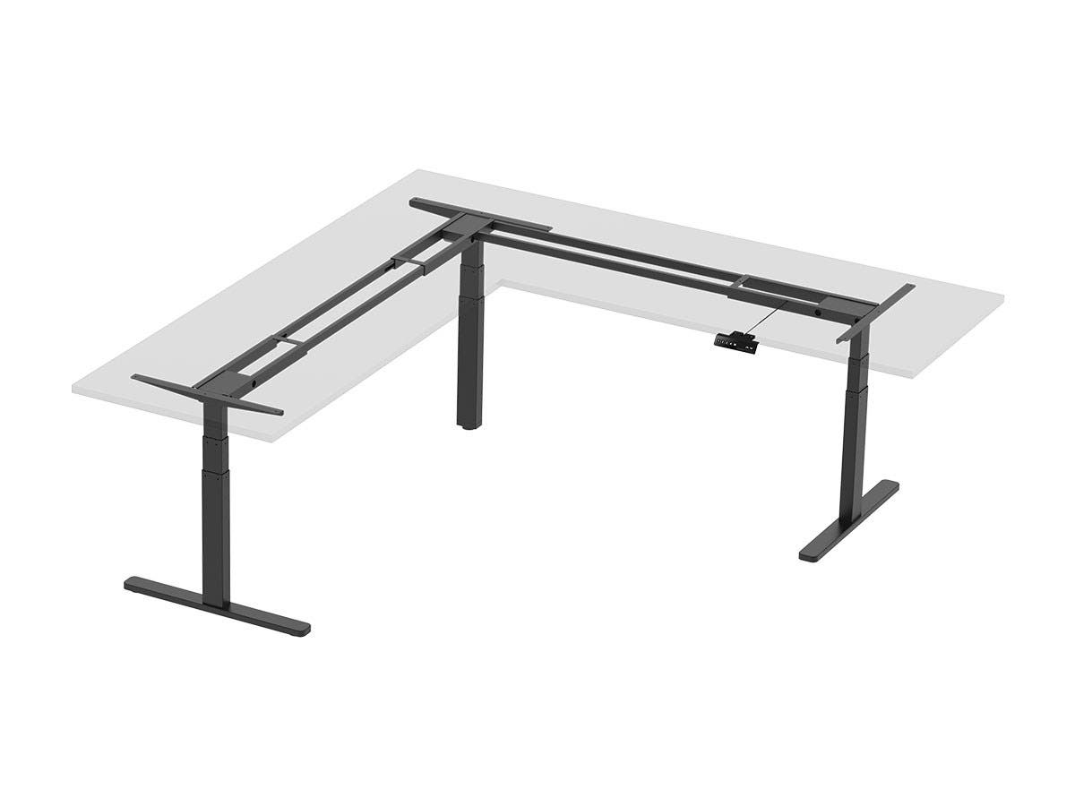 Workstream by Monoprice Triple Motor Height Adjustable Sit-Stand Corner Desk Frame, 3-Leg Corner L-Shaped Table Base, Black-Large-Image-1