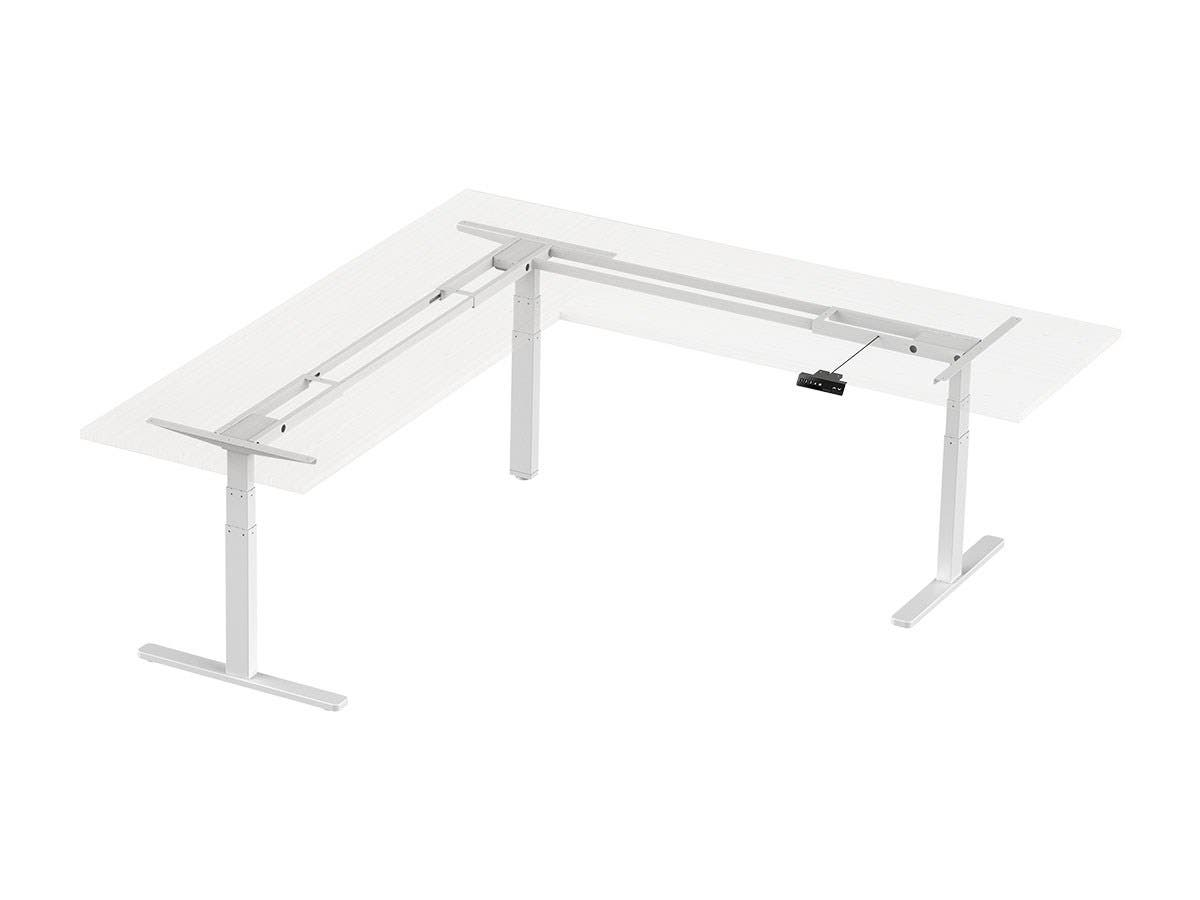 Workstream by Monoprice Triple Motor Height Adjustable Sit-Stand Corner Desk Frame, 3-Leg Corner L-Shaped Table Base, White-Large-Image-1