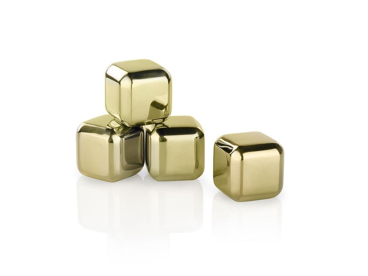 Glacier Rocks  Small Gold Cubes (Set of 4)-Large-Image-1