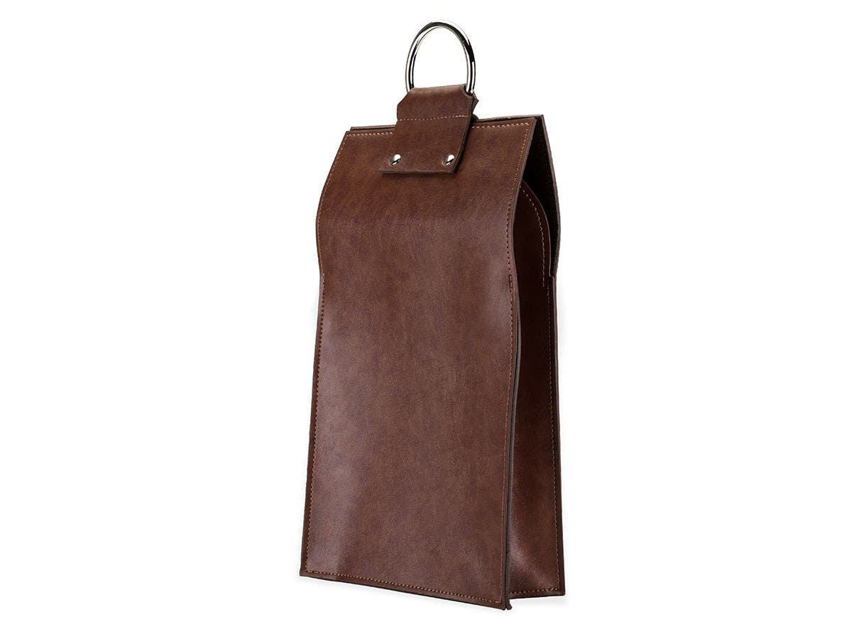 Admiral Faux Leather Double Bottle Brown Wine Tote-Large-Image-1