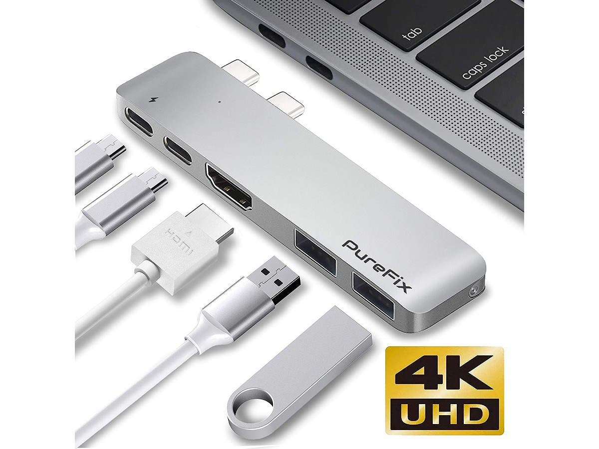 "USB-C 5 in 1 Multi-Port Hub for Macbook Pro 13"" & 15"" Thunderbolt 3 4K HDMI Out Silver-Large-Image-1"