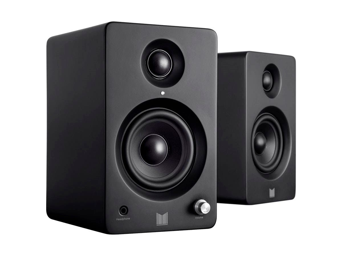 Monolith by Monoprice MM-3 Powered Multimedia Speakers with Bluetooth with aptX (Pair), Black-Large-Image-1
