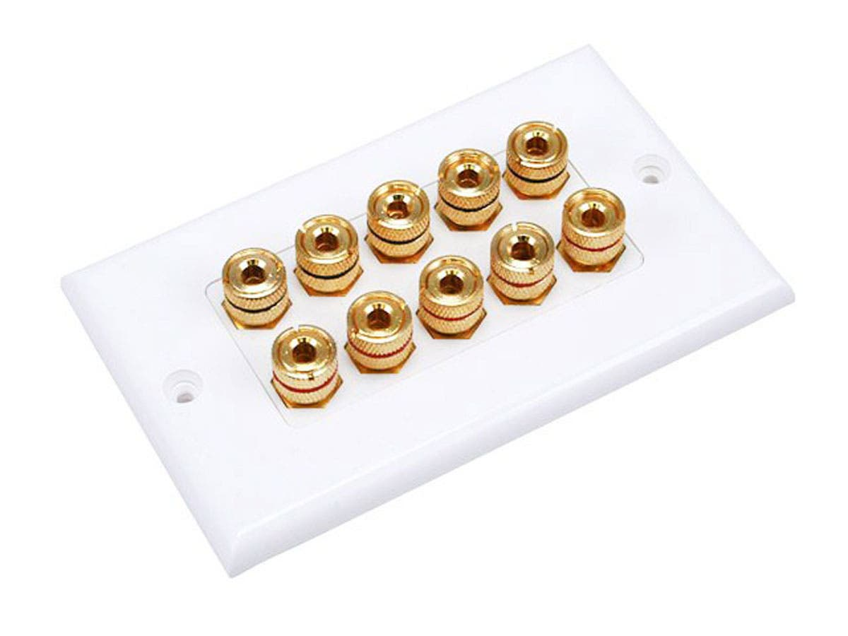 Monoprice High Quality Banana Binding Post Two-Piece Inset Wall Plate for 5 Speakers - Coupler Type-Large-Image-1