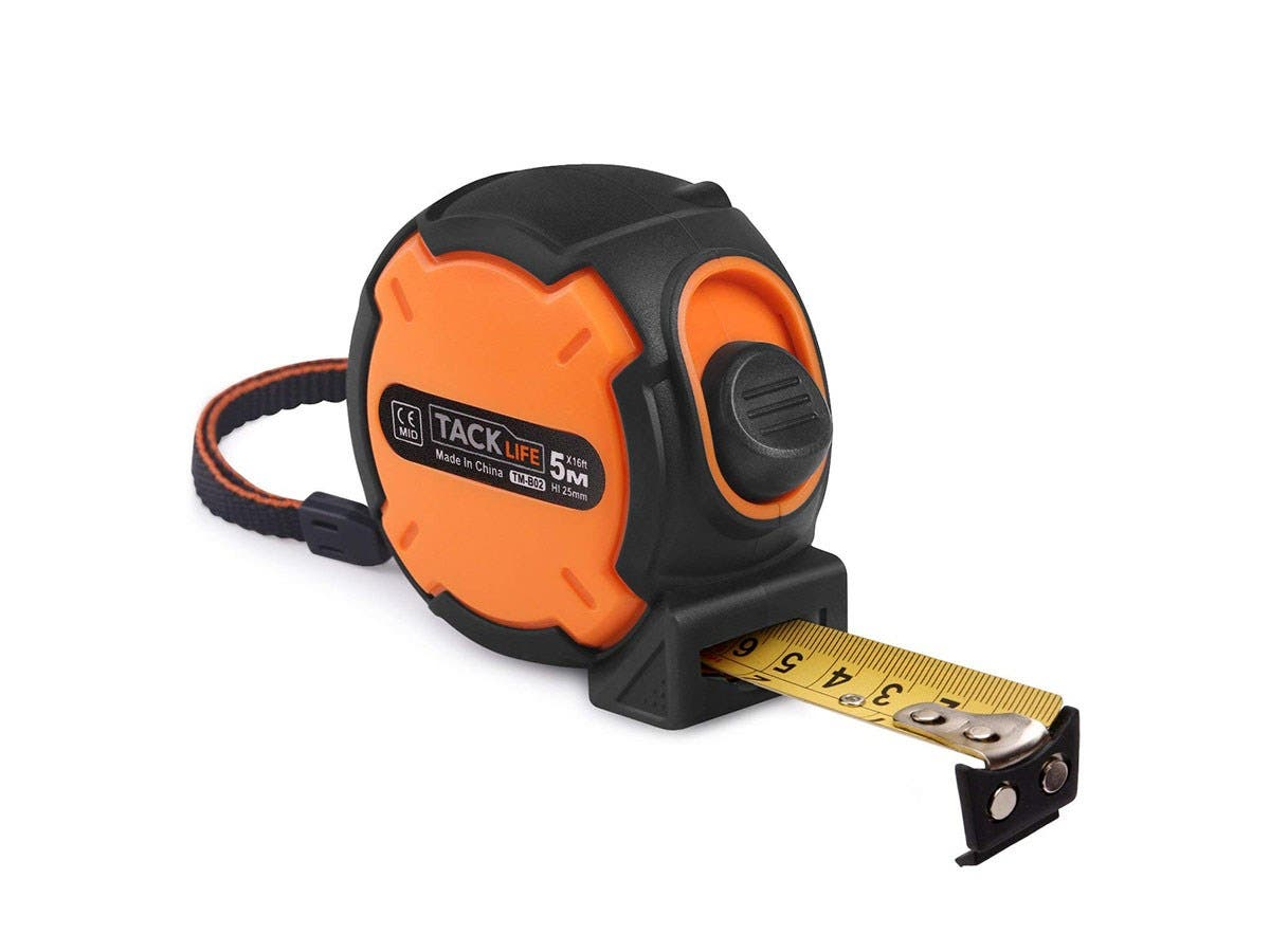 Measuring Tape Tacklife TM-B02 Tape measure 16 foot (5M) Magnetic Hook Metric and Inches Retractable-Large-Image-1