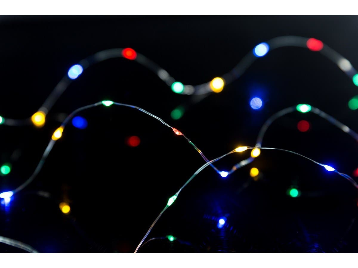10 foot 62 Led Micro LED String Lights, 3x AA with timer, Multicolor-Large-Image-1