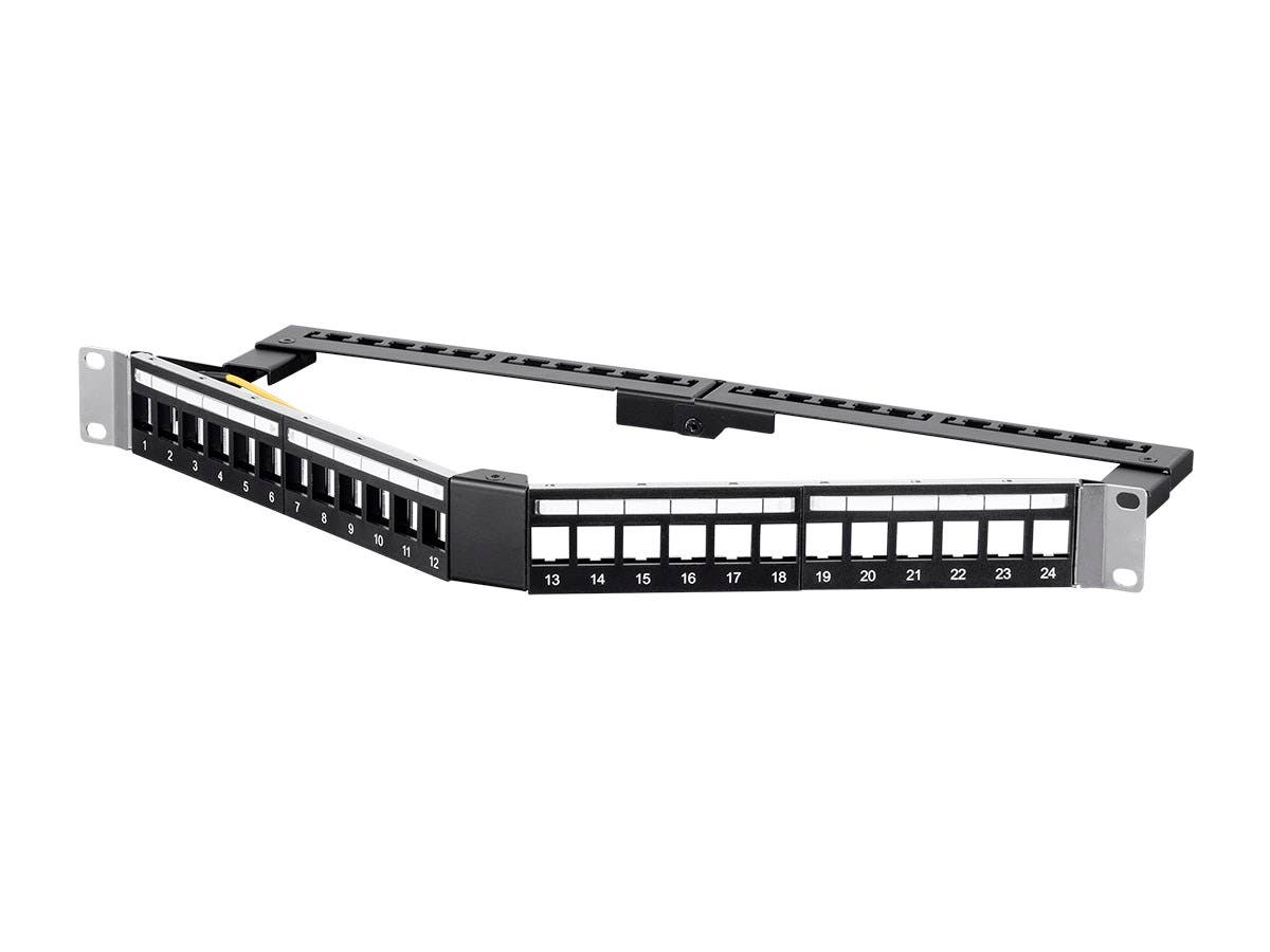 Monoprice 24 Port Blank Keystone FTP Patch Panel, 1U, Angled, with Wire Support Bar-Large-Image-1