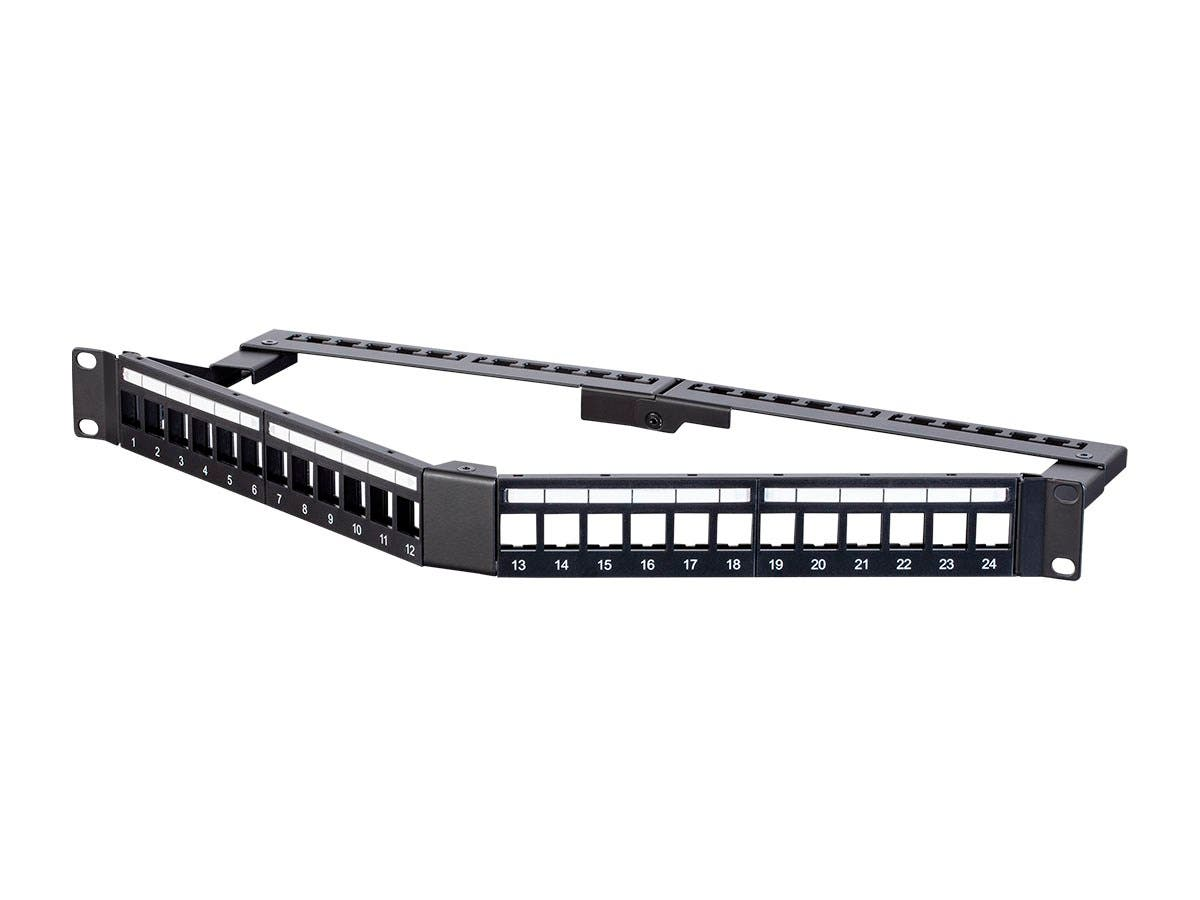 Monoprice 24 Port Blank Keystone UTP Patch Panel, 1U, Angled, with Wire Support Bar-Large-Image-1