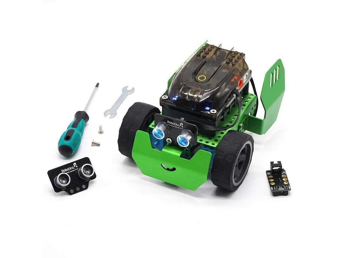 Robobloq Metal Blocks - Robot Building Kit Line Follower, Robotics for Kids Age 6+, Q-Scout STEM Toy  - 65 Piece - 10110002 -Large-Image-1