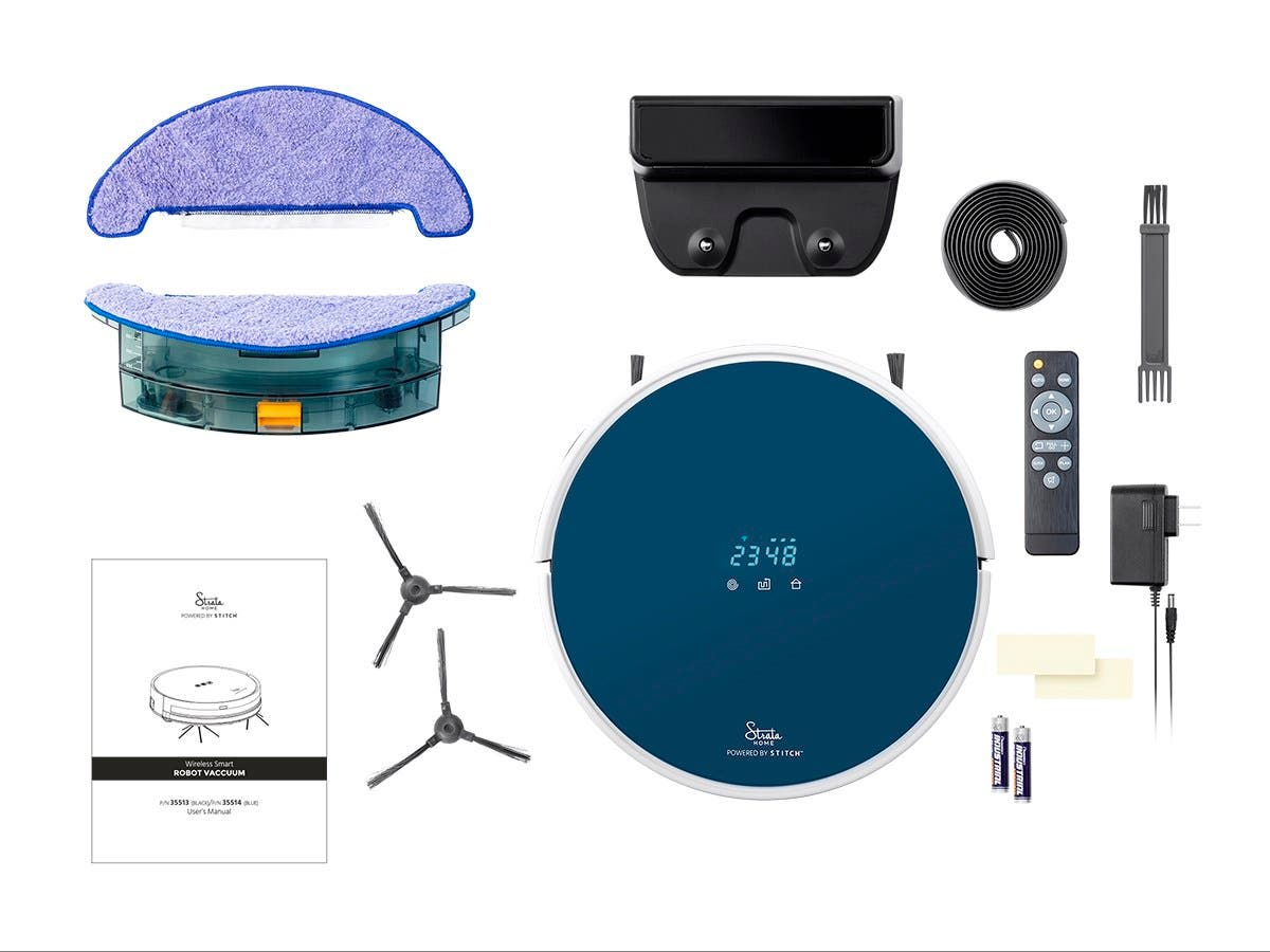 strata home by monoprice powered by stitch wireless smart robotic vacuum  with mop, app controlled