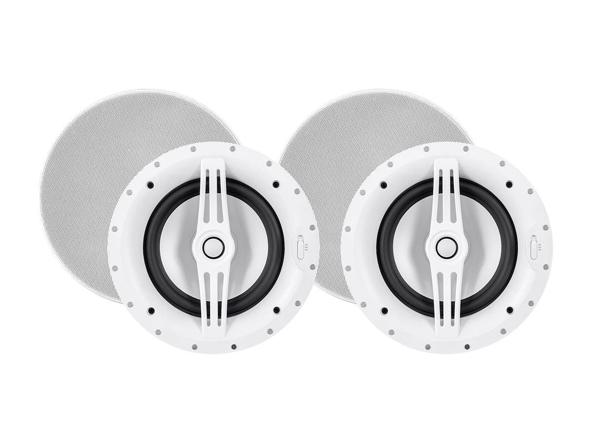 Sycamore by Monoprice Architectural Ceiling Speakers 8in 2-way Aluminum with Micro Ceramic Composite Tweeter (Pair)-Large-Image-1