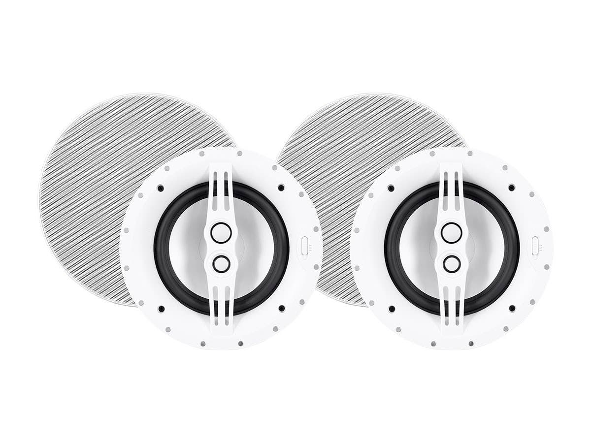 Sycamore by Monoprice Architectural Ceiling Speakers 8in 3-way Aluminum with Micro Ceramic Composite Mid and Tweeter (Pair)-Large-Image-1