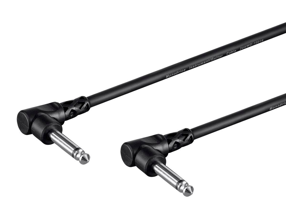 Monoprice Select Series Patch Cable - 1/4in TS Male Right Angle Connector to 1/4in TS Male Connector, 24AWG, Black, 3ft, 3-Pack-Large-Image-1