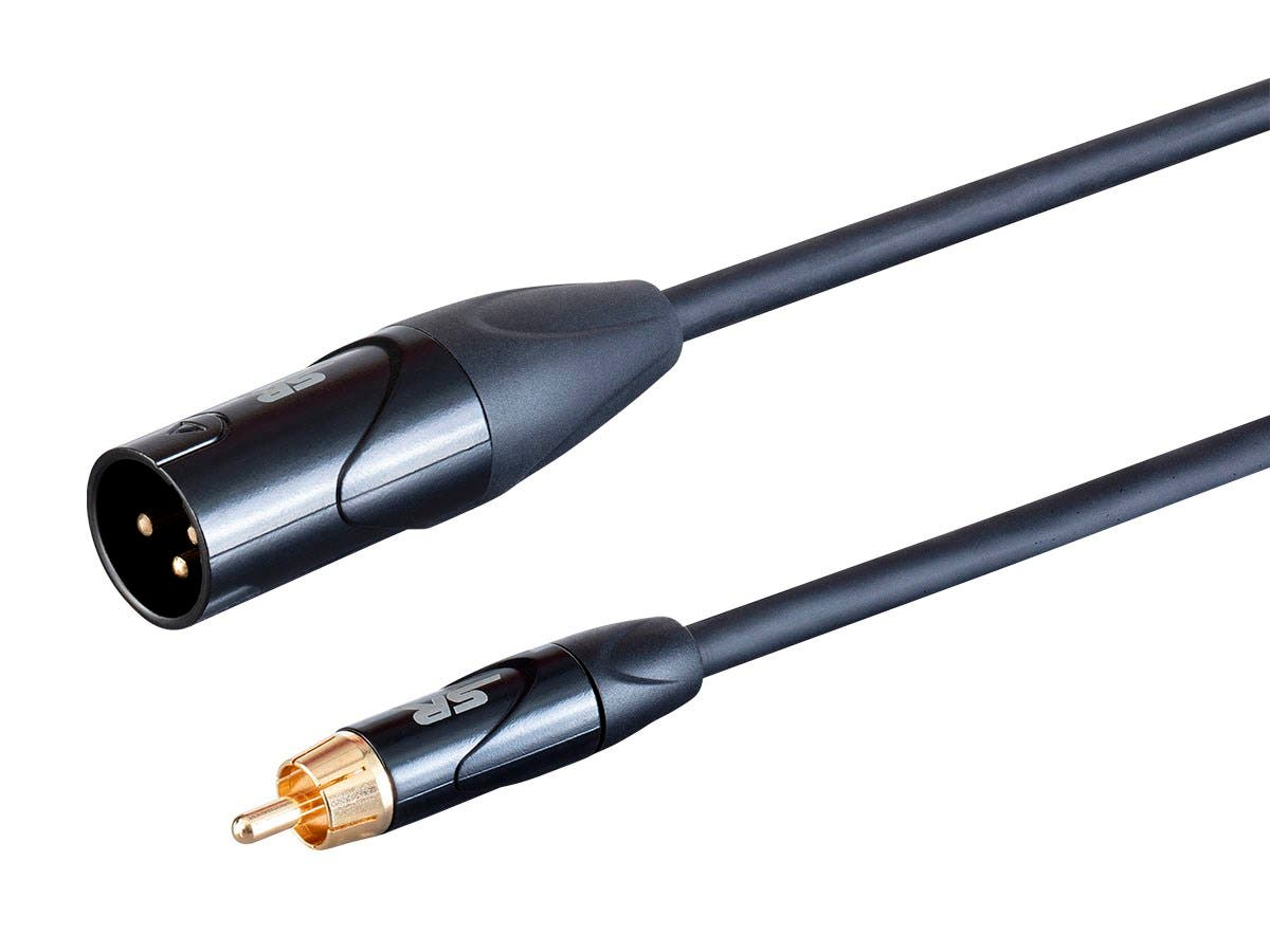 Stage Right by Monoprice On Tour Cables - XLR Male to RCA Male, 24AWG, Black, 1ft - main image