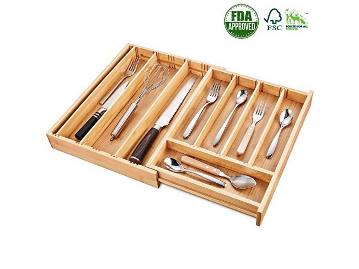 wood drawer organizers kitchen Bamboo Expandable Drawer Organizer Kitchen Drawer Organizer