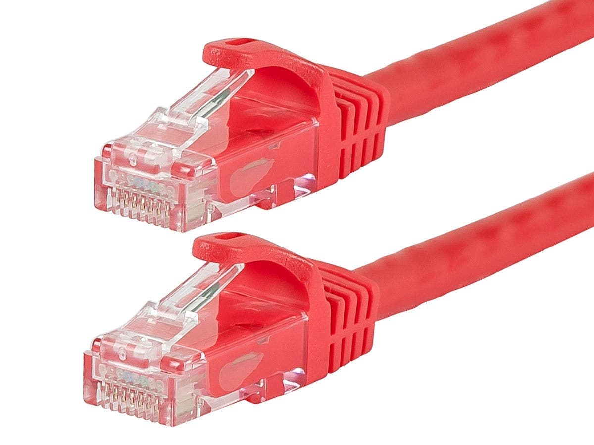 Monoprice Flexboot Cat6 Ethernet Patch Cable - Snagless RJ45, Stranded, 550MHz, UTP, Pure Bare Copper Wire, 24AWG, 35ft, Red - main image