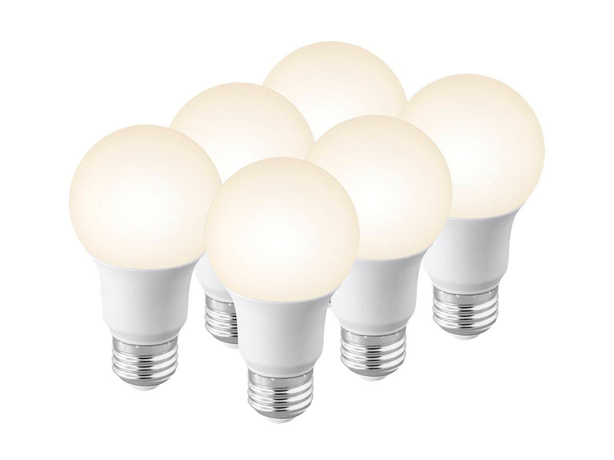 Monoprice 6 Pack, Premium A19 LED Bulb, 40 Watt Equivalent, 450LM Dimmable, 3000K Soft White High CRI 90+-Large-Image-1