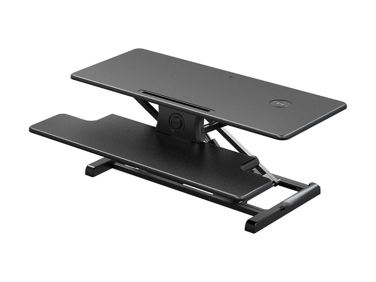 Workstream by Monoprice Electric Sit-Stand Compact Workstation Desk Converter with Built-in Wireless Charging Pad, 37in-Large-Image-1
